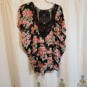 Plus Lace and floral sheer blouse top